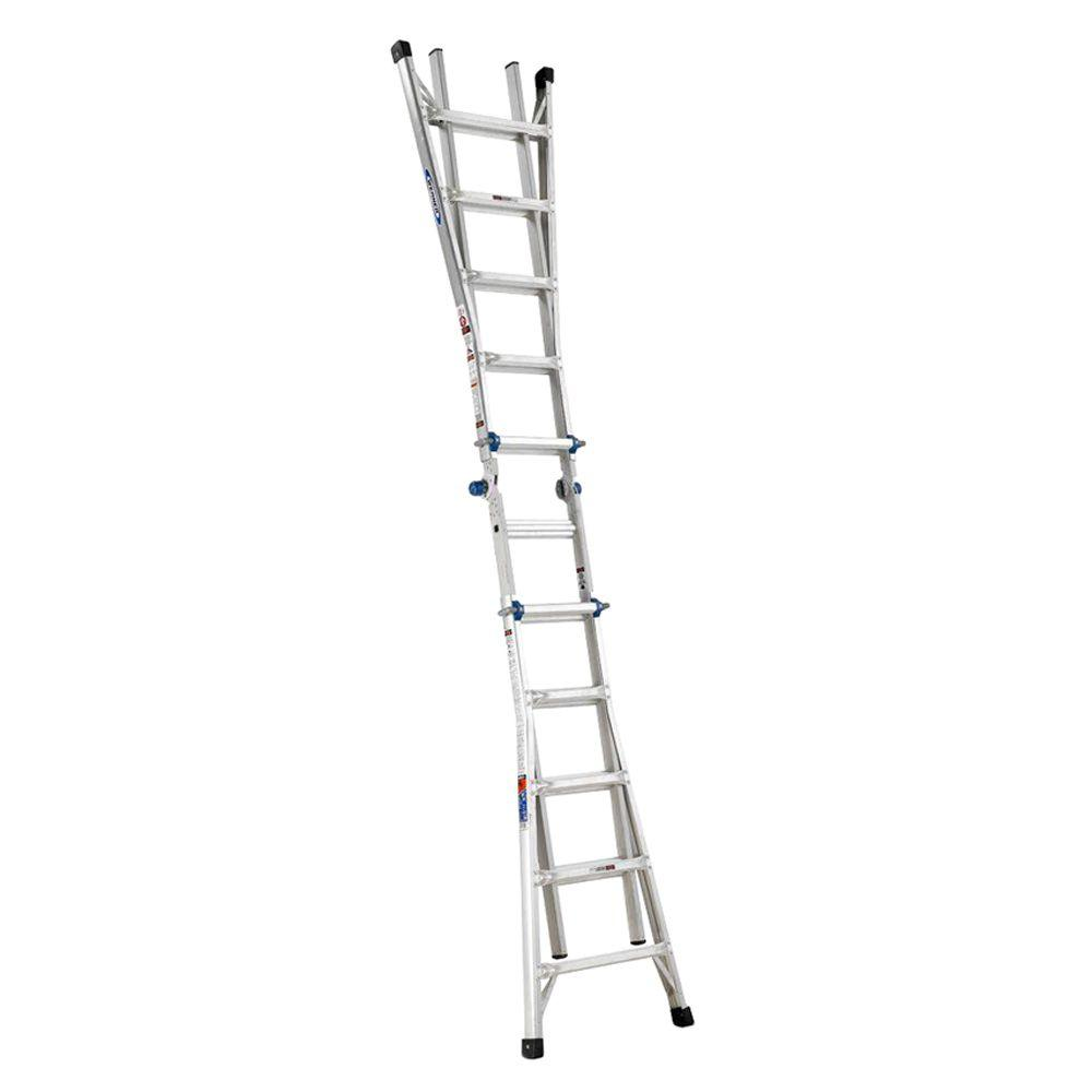 Werner 22 Ft Reach Aluminum Telescoping Multi Position Ladder With 300 Lb Load