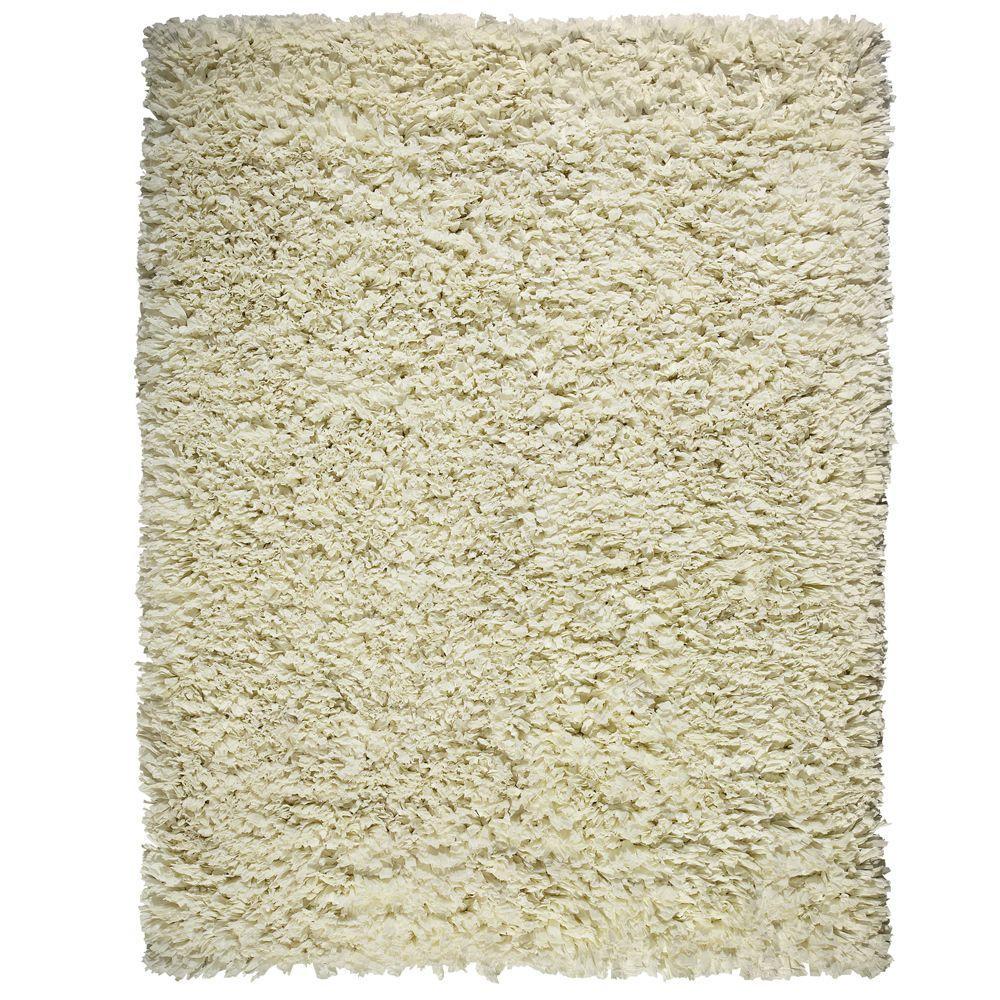 Creme White 3 ft. x 5 ft. Shag Area Rug