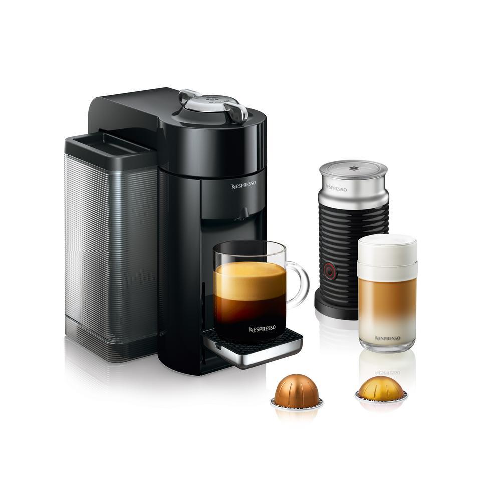 DeLonghi Vertuo Black Single Serve Coffee and Espresso Machine with Aeroccino