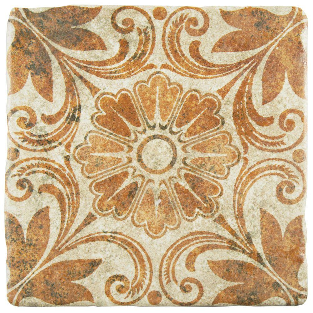Costa Arena Decor Dahlia 7-3/4 in. x 7-3/4 in. Ceramic Floor
