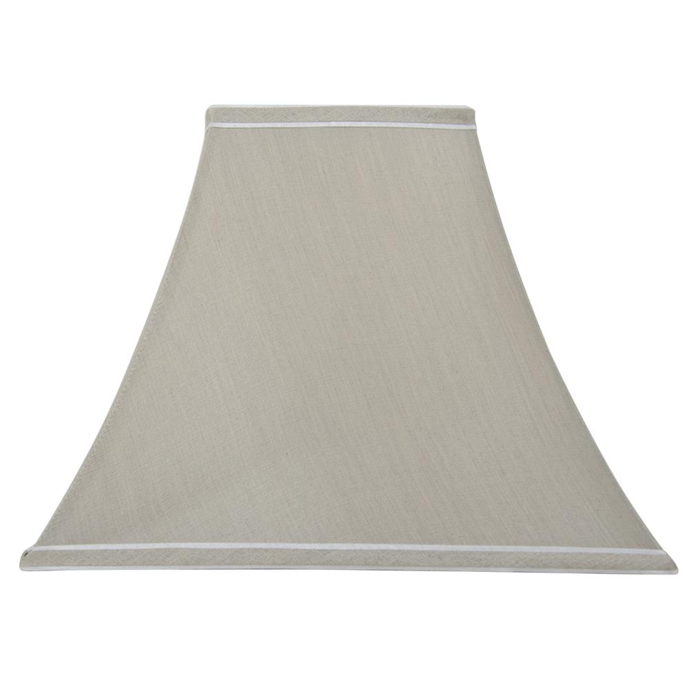 H Taupe With White And Trim Square Table Lamp Shade
