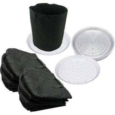 5 Gal. Breathable Fabric Root Aeration Pot With Handles and 12 in. Saucers (10-Pack)