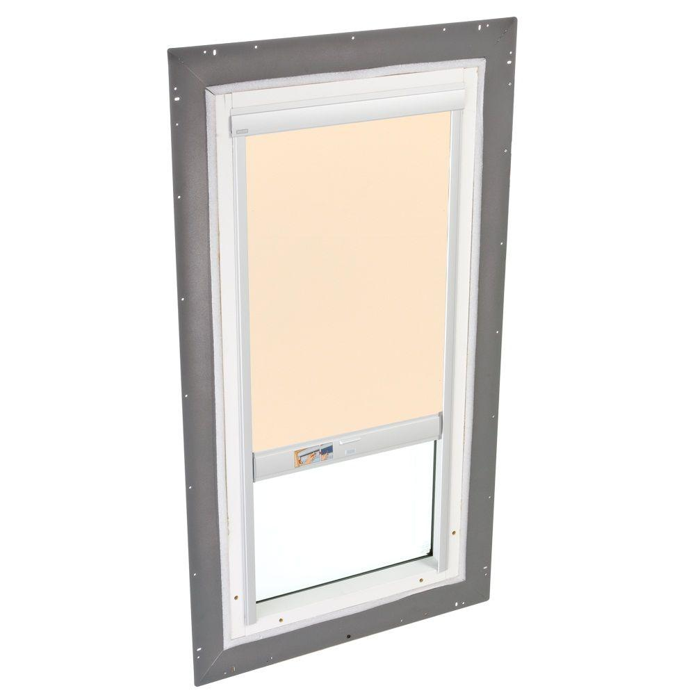 VELUX 22-1/2 in. x 46-1/2 in. Fixed Pan-Flashed Skylight Tempered LowE3 Glass and Beige Solar-Powered Light Filtering Blind
