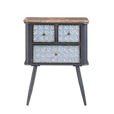 Forester Wood and Metal 3-Drawer Side Table