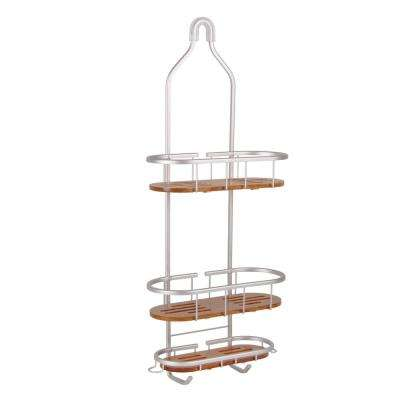 Tia Over-the-Showerhead Caddy in Rustproof Satin Chrome Finish with 3 Teak Shelves