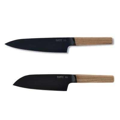 Ron 2-Piece Chef and Santoku Knife Set in Natural