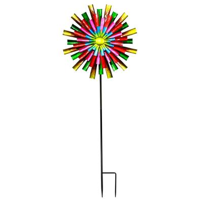 Prismatic Flower Kinetic Wind Spinner Stake