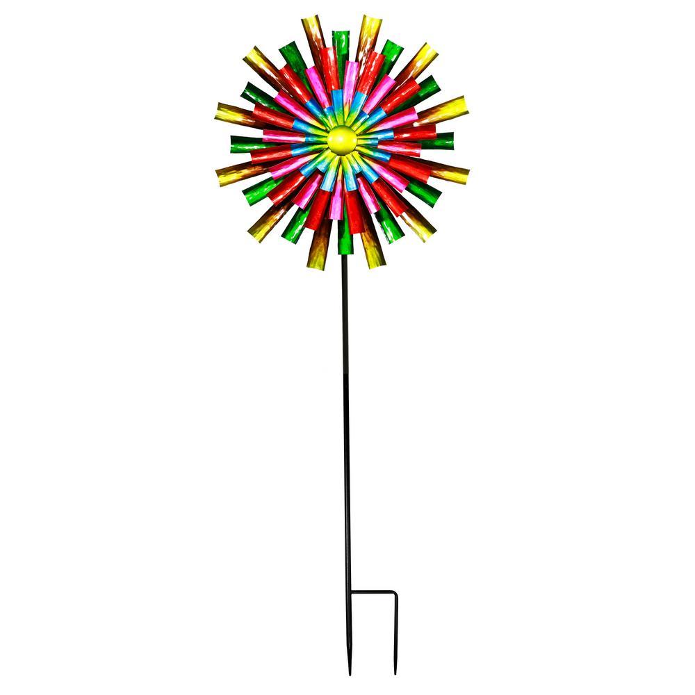 Prismatic Flower Kinetic Wind Spinner Stake