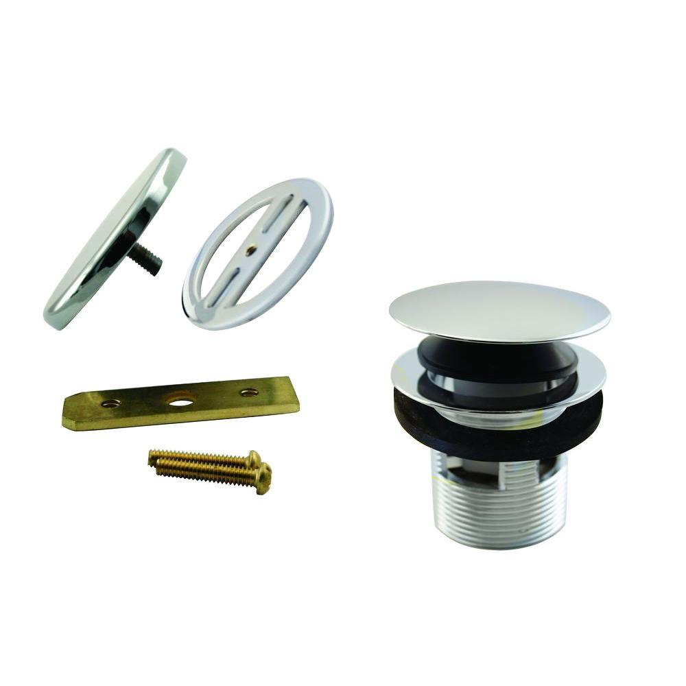 Westbrass 1-1/2 in. NPSM Integrated Overflow Round Tip-Toe Bath Drain with Illusionary Overflow Cover, Polished Nickel