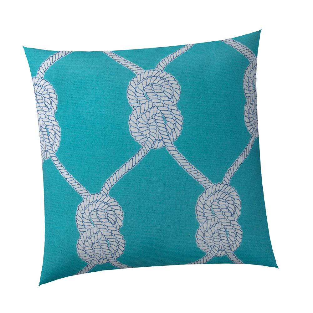 Let's Get Nauti Aqua Square Outdoor Throw Pillow
