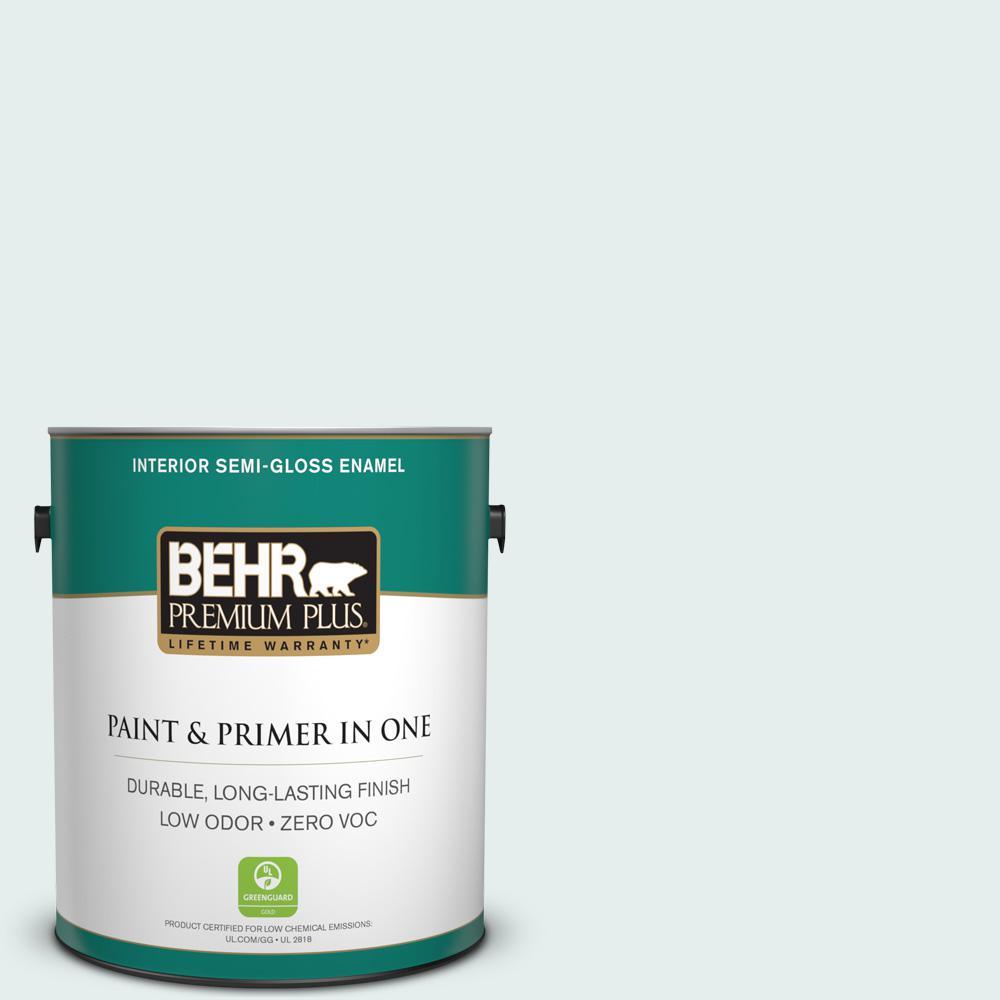 BEHR Premium Plus 1-gal. #W-D-510 Waterfall Mist Zero VOC Semi-Gloss Enamel Interior Paint