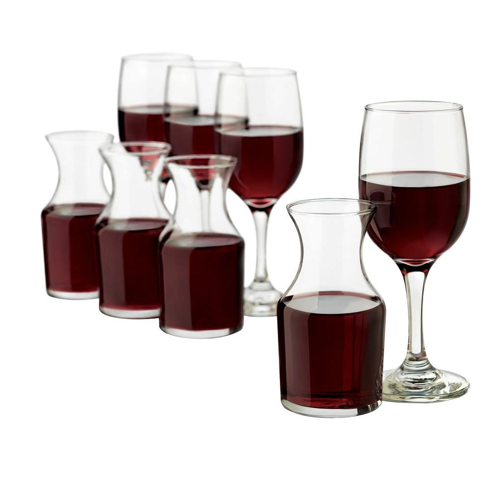 Libbey Wine Service with Four Wine Glasses and Four Decanters in Clear (8-Piece Set)-DISCONTINUED