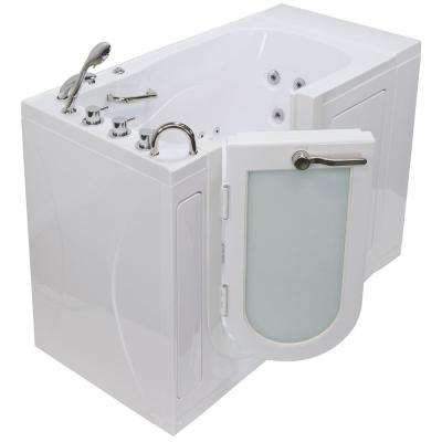 Monaco Acrylic 52 in. Walk-In Whirlpool and MicroBubble Bath in White with Thermostatic Faucet Set Left 2 in. Dual Drain