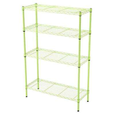 35-5/7 in. W x 53-3/4 in. H x 14 in. D Green 4-Tier Wire Shelf