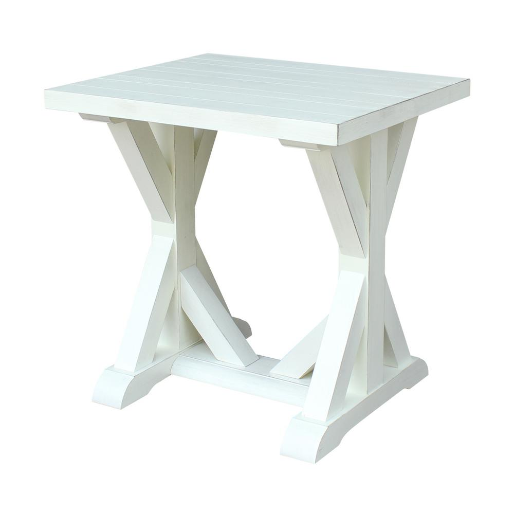 International Concepts Modern Farmhouse Distressed White End Table