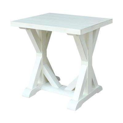 Modern Farmhouse Distressed White End Table