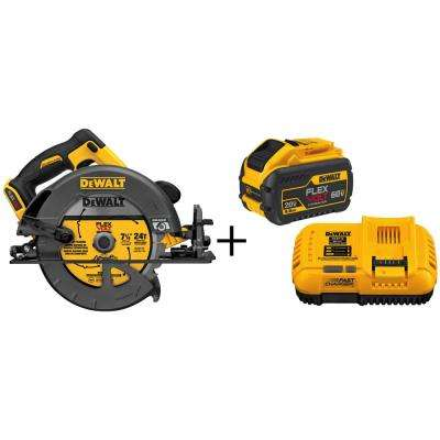 FLEXVOLT 60-Volt MAX Lithium-Ion Cordless Brushless 7-1/4 in. Circular Saw (Tool-Only) with Bonus Battery and Charger