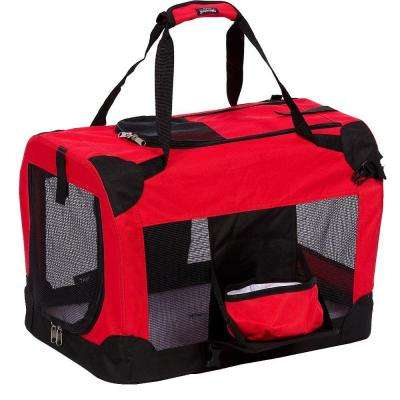 Red Deluxe 360 Degree Collapsible Pet Crate with Removable Bowl - Medium