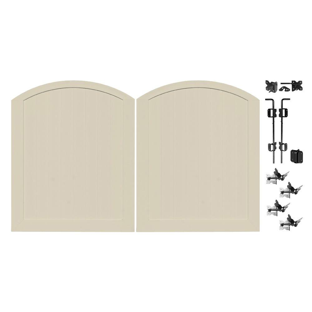 Veranda Pro Series 5 ft. W x 6 ft. H Tan Vinyl Anaheim Privacy Double Drive Through Arched Fence Gate