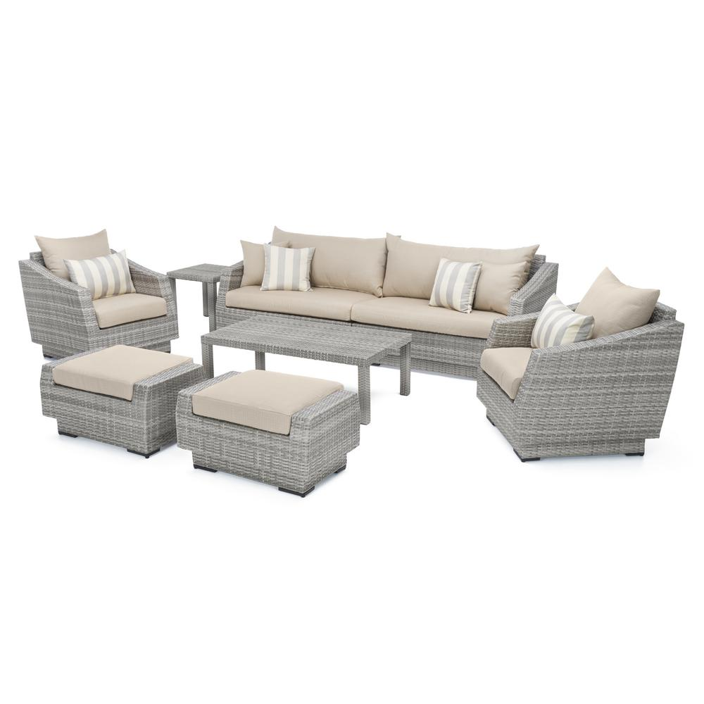 rst brands cannes 8 piece all weather wicker patio sofa and club chair seating group with slate. Black Bedroom Furniture Sets. Home Design Ideas
