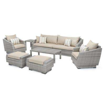 Cannes 8-Piece All-Weather Wicker Patio Sofa and Club Chair Seating Group with Slate Grey Cushions