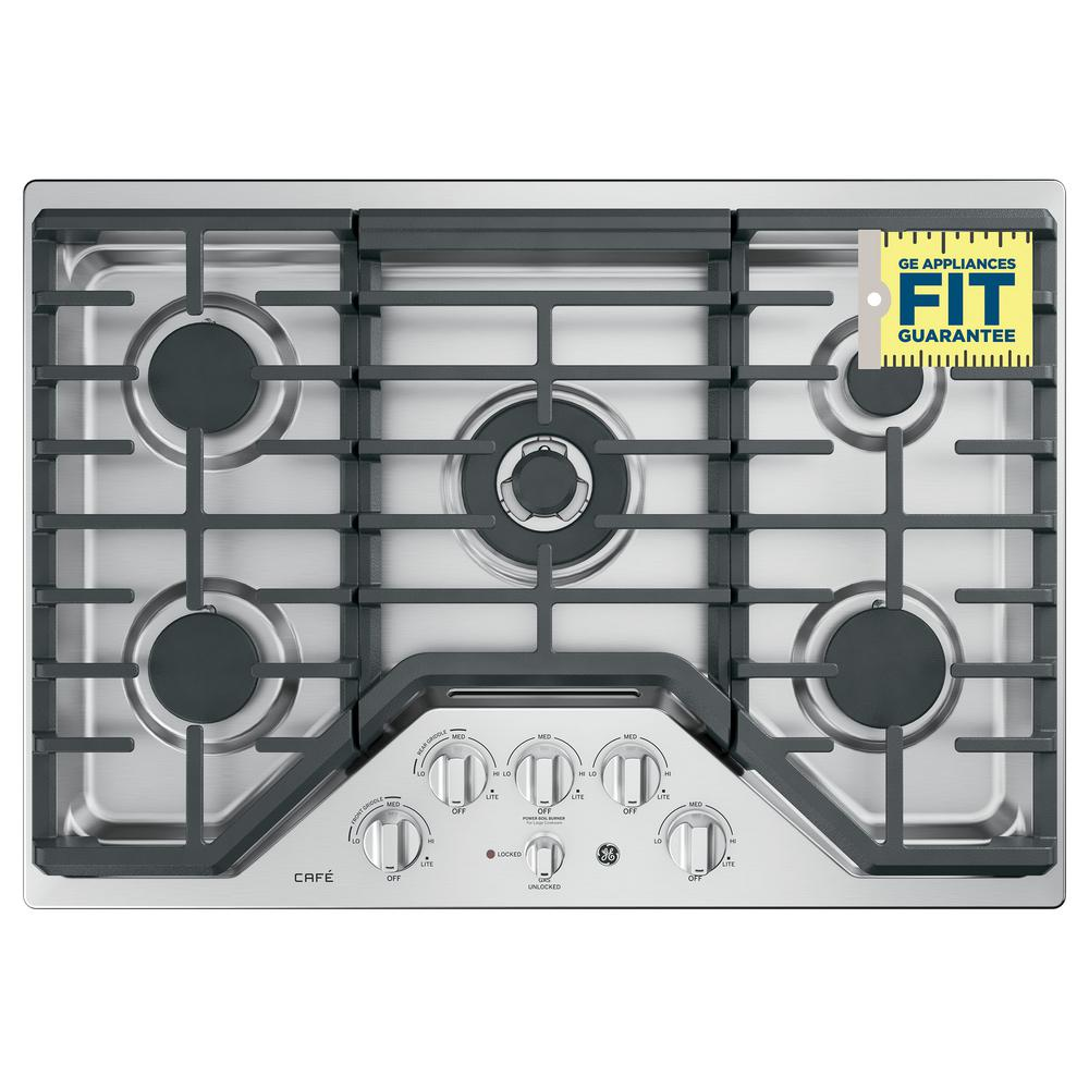 Deep Recessed Gas Cooktop In Stainless Steel With 5 Burners Including Tri