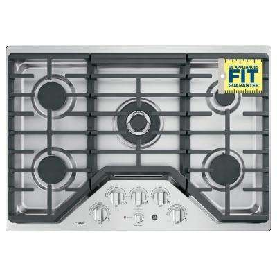 Cafe 36 in. Deep Recessed Gas Cooktop in Stainless Steel with 5 Burners including Tri-Ring Burner