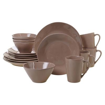 Harmony 16-Piece Traditional Taupe Ceramic Dinnerware Set (Service for 4)