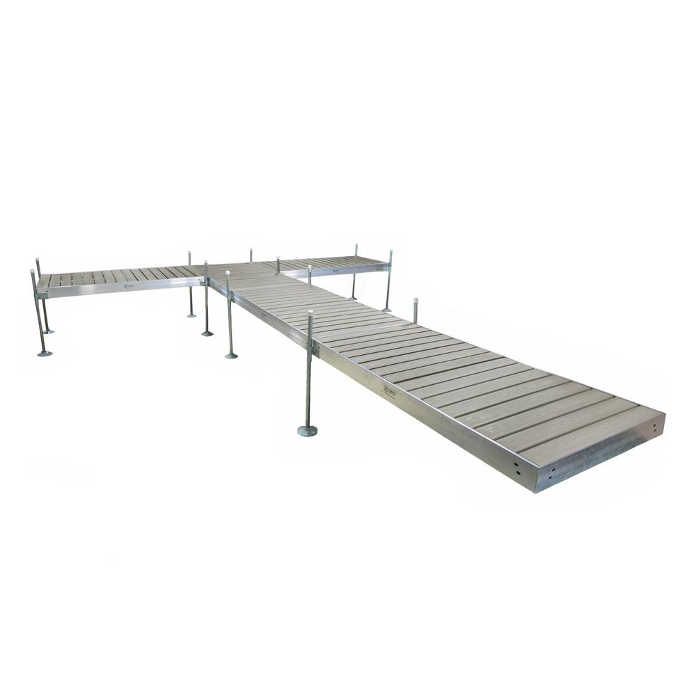 Tommy Docks 24 ft. L T-Style Aluminum Frame with Decking Complete Dock Package