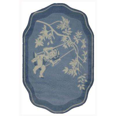 Supreme Blue Toile 39 in. x 58 in. Area Rug