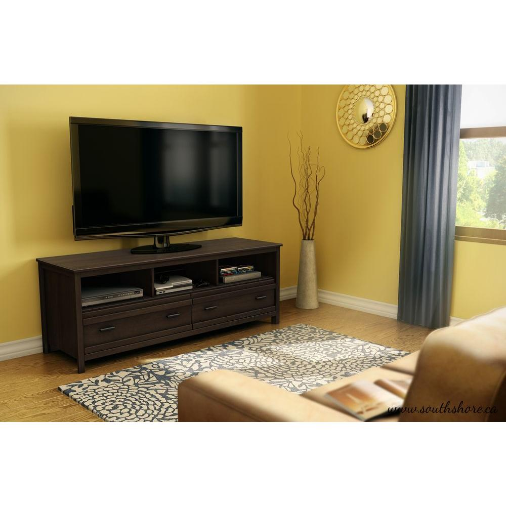 South Shore Exhibit Mocha Brown Storage Entertainment Center  # Meuble Tv California