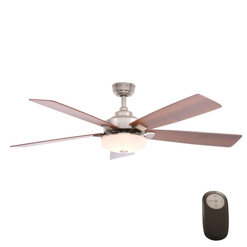 Home Decorators Collection Cameron 54 in. Indoor Brushed Nickel Ceiling Fan with Light Kit and Remote Control