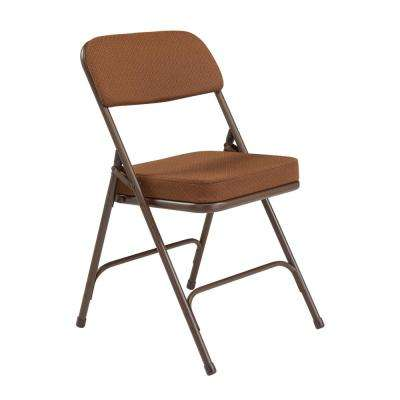 Brown Fabric Padded Folding Chair (Set of 2)