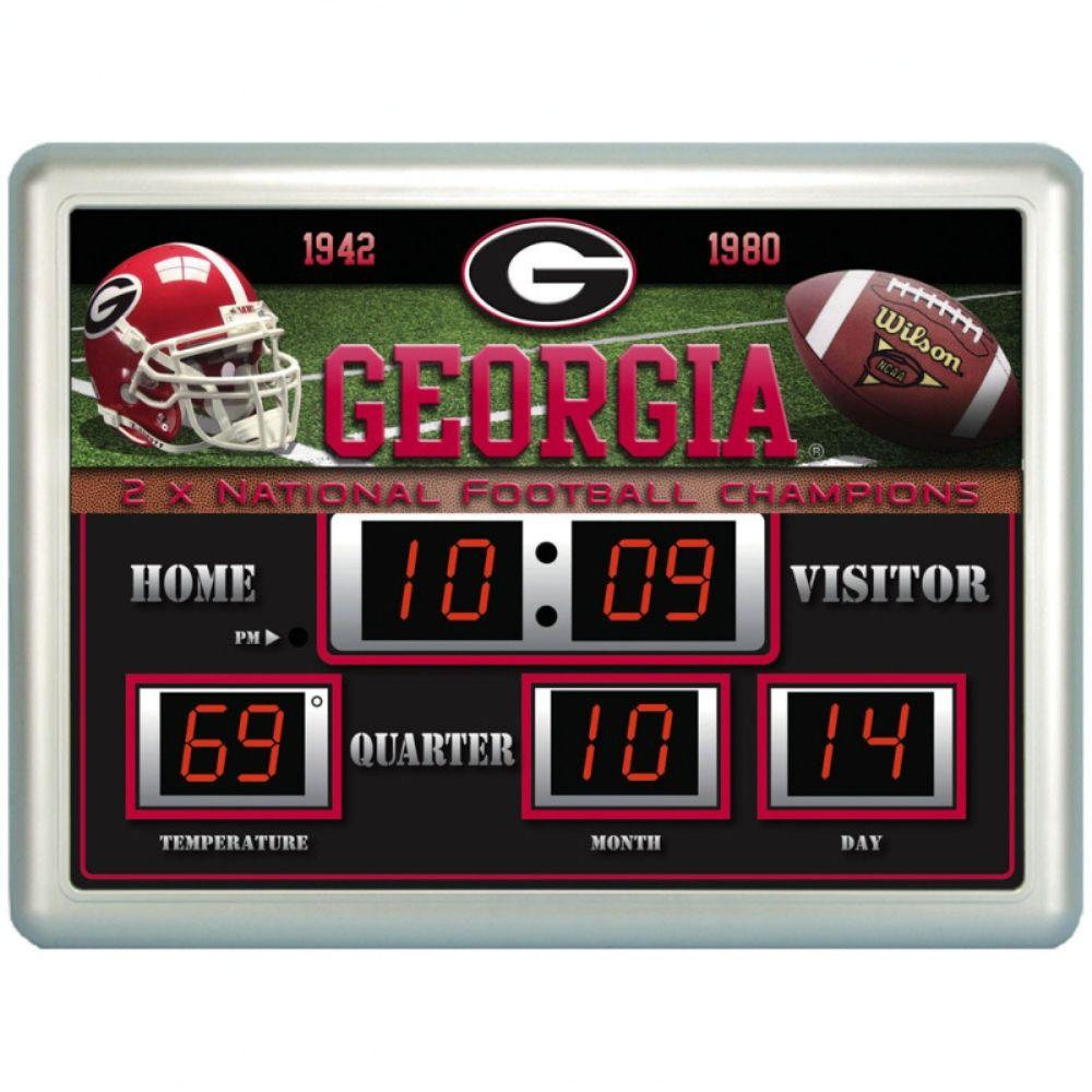 null University of Georgia 14 in. x 19 in. Scoreboard Clock with Temperature