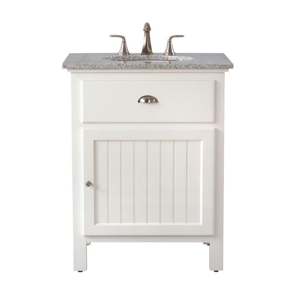 Ridgemore 28 in. W x 22 in. D Bath Vanity in White with Granite Vanity Top in Grey