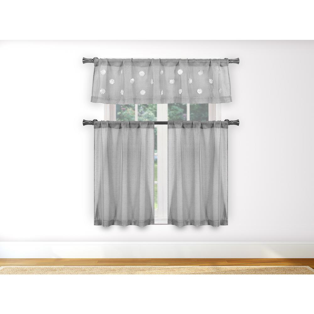 Kensie Daisy Silver Kitchen Curtain Set 55 In W X 15 In L 3 Piece