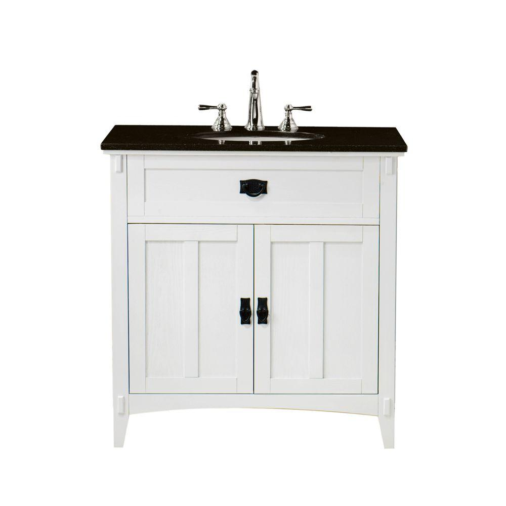 Home Decorators Collection Artisan 33 in. W x 20-1/2 in. D Bath Vanity in White with Granite Vanity Top in Black