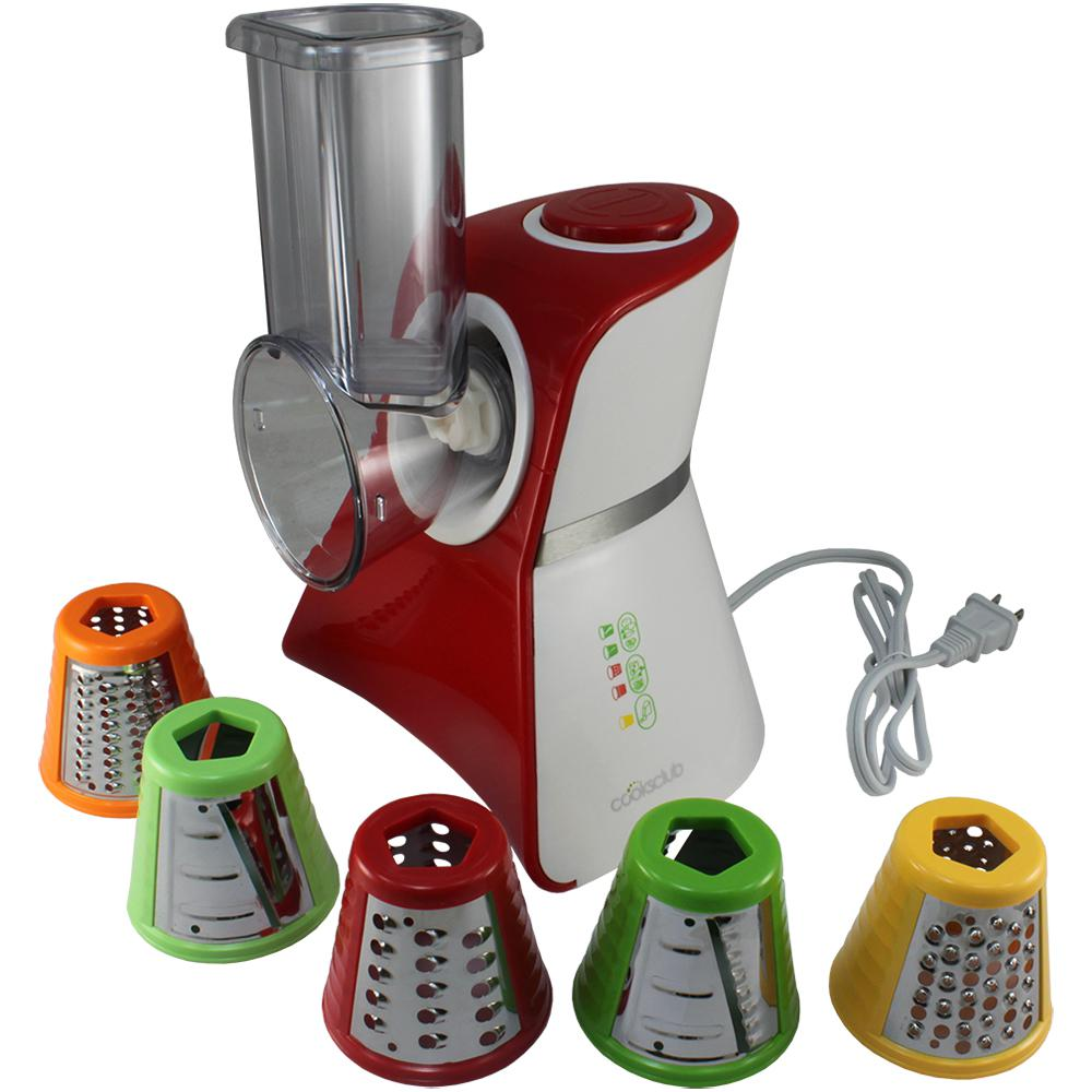 Salad Maker Food Processor, Red Salad maker mini food processor and produce shooter. Shipping with 5 different blades, this counter-top appliance features an easy-to-use On/Auto-Off switch. All food-contact surfaces are conveniently removable and dishwasher safe. Color: RED.