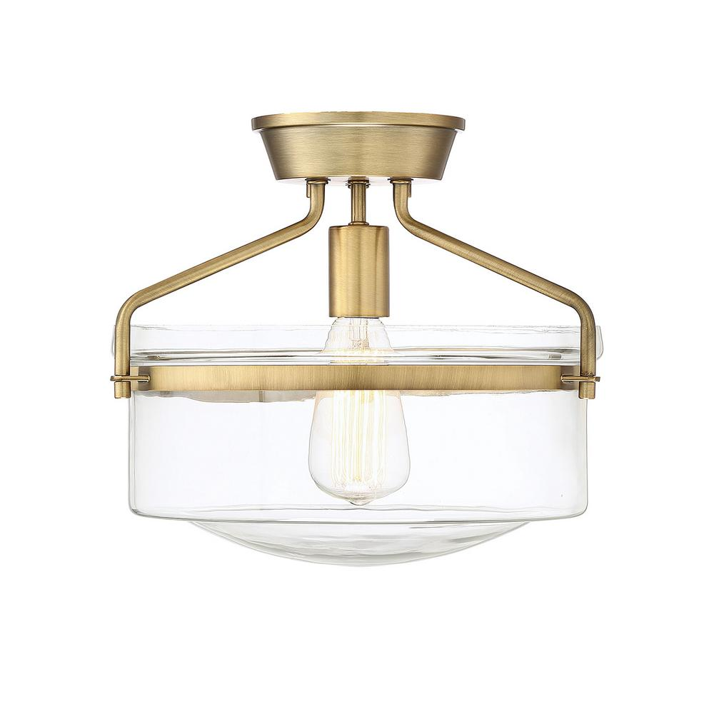 Filament Design 1-Light Natural Brass Semi-Flush Mount with Clear Glass