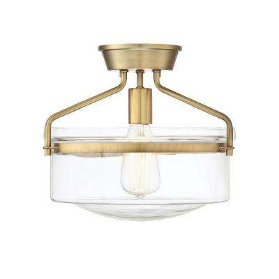 1-Light Natural Brass Semi-Flush Mount with Clear Glass