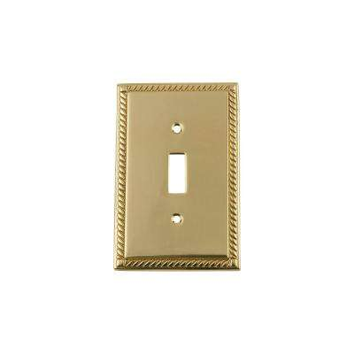Rope Switch Plate with Single Toggle in Polished Brass