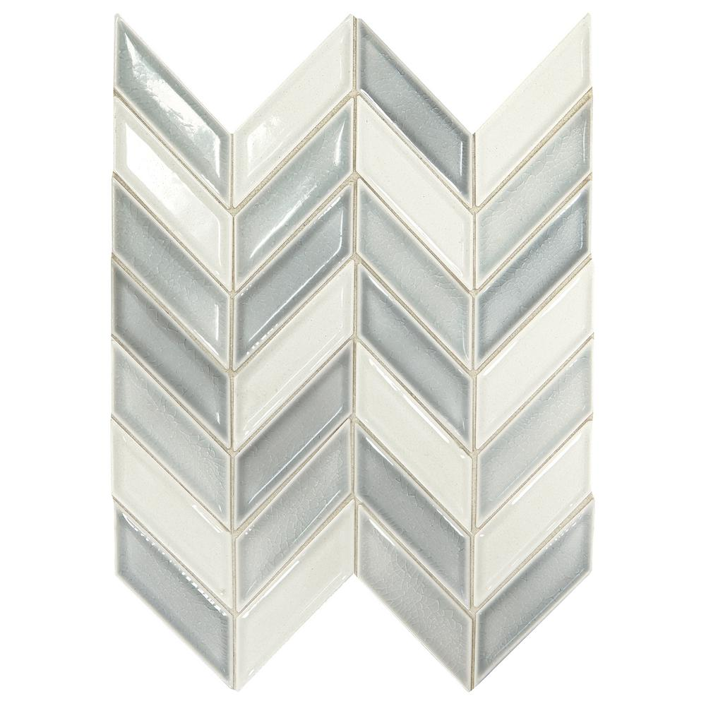 Daltile Premier Accents Ice Blue Chevron 9 in. x 12 in. x 8 mm Porcelain Mosaic Wall Tile (0.809 sq. ft. / piece)