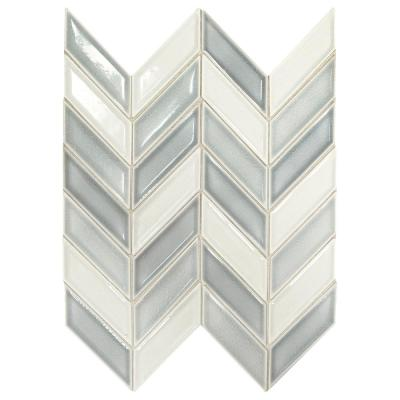 Premier Accents Ice Blue Chevron 9 in. x 12 in. x 8 mm Porcelain Mosaic Wall Tile (0.809 sq. ft. / piece)