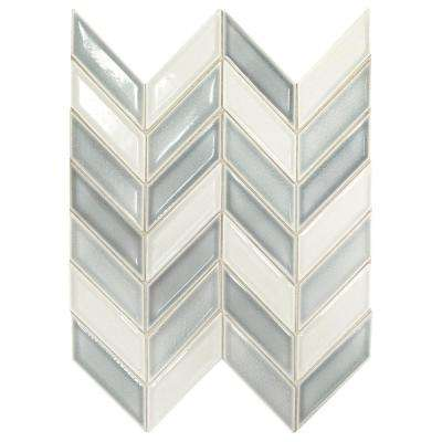 Premier Accents Ice Blue Chevron 9 in. x 12 in. x 8 mm Porcelain Mosaic Tile