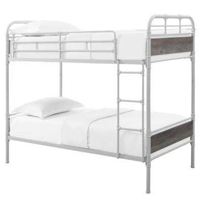 Urban Industrial White and Grey Wash Twin over Twin Metal Wood Bunk Bed