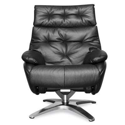 Paradigm Black Leather Lounge Chair with Ottoman
