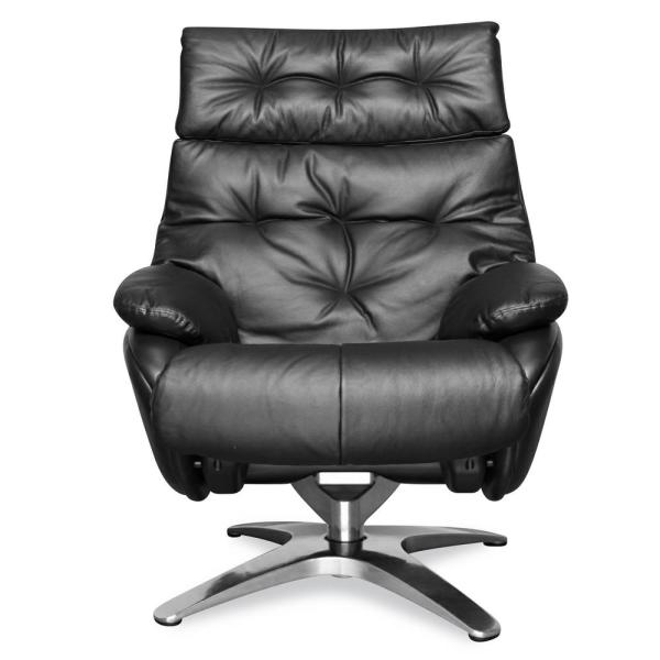 Poly and Bark Paradigm Black Leather Lounge Chair with Ottoman HD-LR-394-BLK