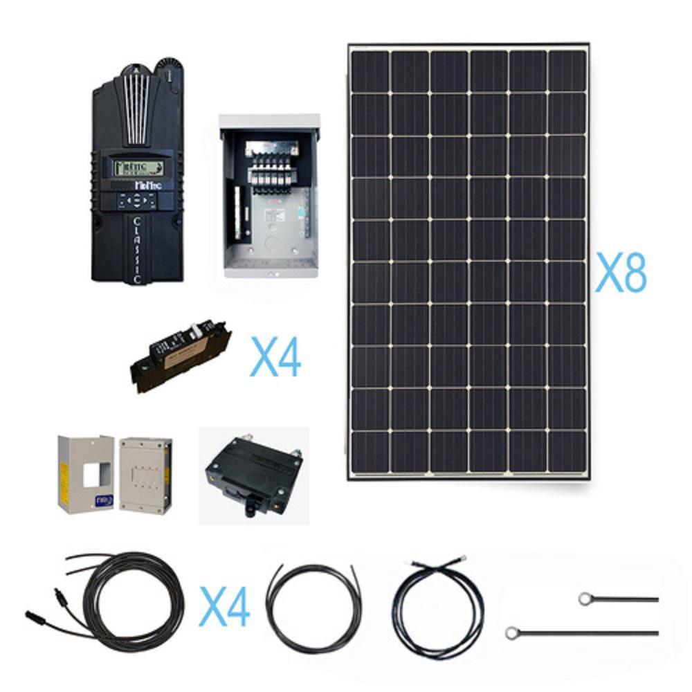 2400-Watt 24-Volt Monocrystalline Off-Grid Solar Cabin Kit