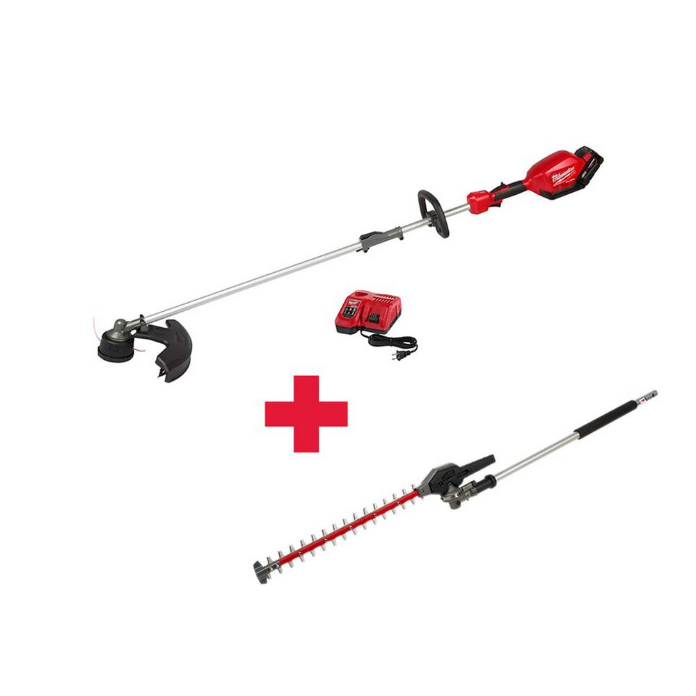 Milwaukee M18 FUEL 18-Volt Lithium-Ion Brushless Cordless String Trimmer Kit with M18 FUEL Hedge Trimmer Attachment