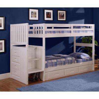 White Twin over Twin Staircase Bunkbed with 7-Drawers